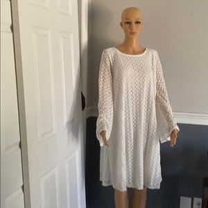 Pink Blush Crochet bell sleeve maternity dress